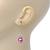 Pink Simulated Pearl, Crystal Drop Earrings In Rhodium Plating - 40mm Length - view 2