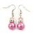 Pink Simulated Pearl, Crystal Drop Earrings In Rhodium Plating - 40mm Length