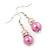 Pink Simulated Pearl, Crystal Drop Earrings In Rhodium Plating - 40mm Length - view 4