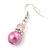 Pink Simulated Pearl, Crystal Drop Earrings In Rhodium Plating - 40mm Length - view 5