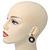Antique Silver Marcasite Hematite Crystal Hoop Drop Earrings - 35mm Length - view 6