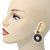Antique Silver Marcasite Hematite Crystal Hoop Drop Earrings - 35mm Length - view 5