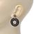 Antique Silver Marcasite Hematite Crystal Hoop Drop Earrings - 35mm Length - view 4