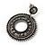 Antique Silver Marcasite Hematite Crystal Hoop Drop Earrings - 35mm Length - view 7