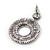 Antique Silver Marcasite Hematite Crystal Hoop Drop Earrings - 35mm Length - view 3