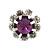 Small Purple/Clear Diamante Stud Earrings In Silver Finish - 10mm Diameter - view 2