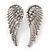 Diamante 'Angel Wings' Stud Earrings In Silver Tone Metal - 40mm Length