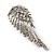 Diamante 'Angel Wings' Stud Earrings In Silver Tone Metal - 40mm Length - view 6