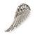 Diamante 'Angel Wings' Stud Earrings In Silver Tone Metal - 40mm Length - view 5