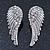 Diamante 'Angel Wings' Stud Earrings In Silver Tone Metal - 40mm Length - view 2