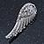 Diamante 'Angel Wings' Stud Earrings In Silver Tone Metal - 40mm Length - view 3