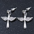Rhodium Plated Angel Wings, Cross Drop Earrings - 30mm Length