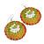 Orange/ Mustard/ Olive Round Enamel Hammered 'Rose' Drop Earrings In Silver Tone - 60mm Length