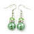 Lime Green Simulated Glass Pearl, Crystal Drop Earrings In Rhodium Plating - 40mm Length - view 1