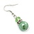 Lime Green Simulated Glass Pearl, Crystal Drop Earrings In Rhodium Plating - 40mm Length - view 3