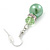 Lime Green Simulated Glass Pearl, Crystal Drop Earrings In Rhodium Plating - 40mm Length - view 4