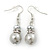 Light Grey Simulated Glass Pearl, Crystal Drop Earrings In Rhodium Plating - 40mm Length