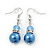 Violet Blue Simulated Glass Pearl, Crystal Drop Earrings In Rhodium Plating - 40mm Length