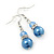 Violet Blue Simulated Glass Pearl, Crystal Drop Earrings In Rhodium Plating - 40mm Length - view 2