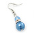 Violet Blue Simulated Glass Pearl, Crystal Drop Earrings In Rhodium Plating - 40mm Length - view 3
