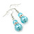 Light Blue Simulated Glass Pearl, Crystal Drop Earrings In Rhodium Plating - 40mm Length - view 2
