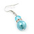 Light Blue Simulated Glass Pearl, Crystal Drop Earrings In Rhodium Plating - 40mm Length - view 3