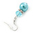 Light Blue Simulated Glass Pearl, Crystal Drop Earrings In Rhodium Plating - 40mm Length - view 4
