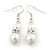 Cream Simulated Glass Pearl, Crystal Drop Earrings In Rhodium Plating - 40mm L - view 5
