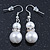 Cream Simulated Glass Pearl, Crystal Drop Earrings In Rhodium Plating - 40mm L