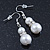 Cream Simulated Glass Pearl, Crystal Drop Earrings In Rhodium Plating - 40mm L - view 2
