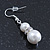 Cream Simulated Glass Pearl, Crystal Drop Earrings In Rhodium Plating - 40mm L - view 3