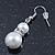 Cream Simulated Glass Pearl, Crystal Drop Earrings In Rhodium Plating - 40mm L - view 7