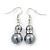 Grey Simulated Glass Pearl, Crystal Drop Earrings In Rhodium Plating - 40mm Length