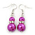 Fuchsia Simulated Pearl, Crystal Drop Earrings In Rhodium Plating - 40mm Length