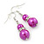 Fuchsia Simulated Pearl, Crystal Drop Earrings In Rhodium Plating - 40mm Length - view 2