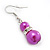 Fuchsia Simulated Pearl, Crystal Drop Earrings In Rhodium Plating - 40mm Length - view 3