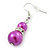 Fuchsia Simulated Pearl, Crystal Drop Earrings In Rhodium Plating - 40mm Length - view 4