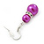 Fuchsia Simulated Pearl, Crystal Drop Earrings In Rhodium Plating - 40mm Length - view 5