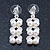 Bridal, Wedding, Prom Simulated Glass Pearl Drop Earrings In Rhodium Plating - 35mm Length