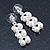 Bridal, Wedding, Prom Simulated Glass Pearl Drop Earrings In Rhodium Plating - 35mm Length - view 6