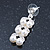 Bridal, Wedding, Prom Simulated Glass Pearl Drop Earrings In Rhodium Plating - 35mm Length - view 7