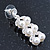 Bridal, Wedding, Prom Simulated Glass Pearl Drop Earrings In Rhodium Plating - 35mm Length - view 5
