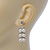 Bridal, Wedding, Prom Simulated Glass Pearl Drop Earrings In Rhodium Plating - 35mm Length - view 4