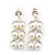 Bridal, Wedding, Prom Simulated Glass Pearl Drop Earrings In Rhodium Plating - 35mm Length - view 2