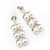 Bridal, Wedding, Prom Simulated Glass Pearl Drop Earrings In Rhodium Plating - 35mm Length - view 9