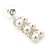Bridal, Wedding, Prom Simulated Glass Pearl Drop Earrings In Rhodium Plating - 35mm Length - view 10