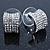 Small C Shape Clear Austrian Crystal Stud Earrings In Rhodium Plating - 12mm L