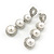 Bridal/ Wedding/ Prom/ Party Rhodium Plated Clear Austrian Crystal, Simulated Glass Pearl Linear Drop Earrings - 50mm
