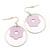 Silver Tone Hoop With Pink Flower Drop Earrings - 45mm Length