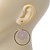 Gold Plated Hoop With Magnolia Flower Drop Earrings - 45mm Length - view 4